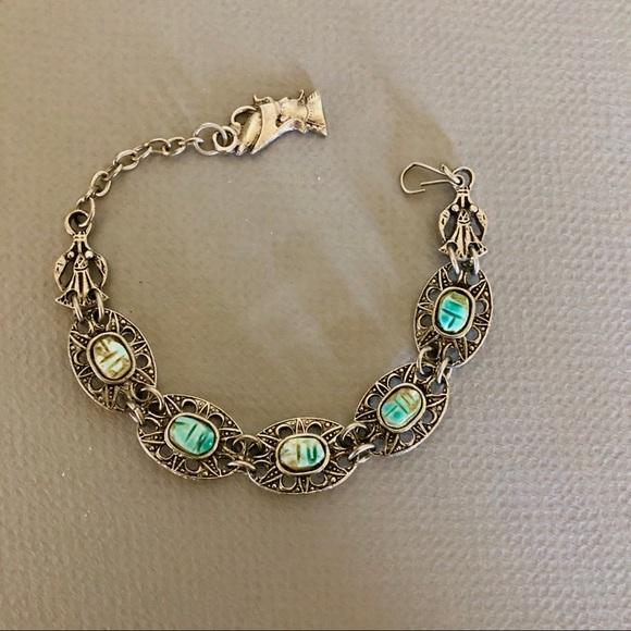 Vintage Egyptian Revival Silver Tone Scarab Stone Link Bracelet